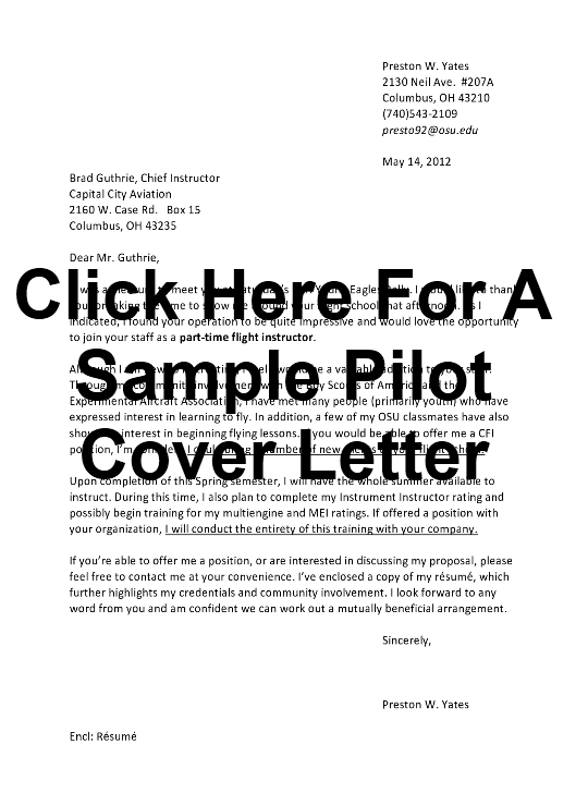 Sample Pilot Cover Letter And Example Airployment Blog