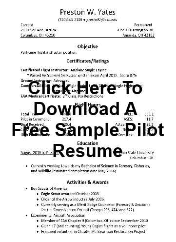Sample Pilot Resume Samples Examples And More